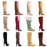 Female boots collection Royalty Free Stock Photos