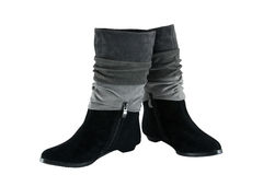 Female boots from suede on a snake Stock Images