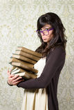 Bored student girl and books Royalty Free Stock Photography