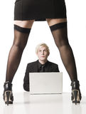 Female boss. Man working below pressure from a woman Royalty Free Stock Images