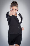 Female Boss Punching At Camera Stock Photos