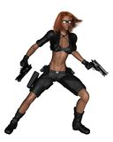 Female Bounty Hunter - shooting Royalty Free Stock Photography