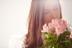 Female with bouquet Stock Photos