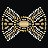 Female bow from brilliant stones, decorated gold and silver medallion, paste jewelry, brooches, pendants Royalty Free Stock Photos