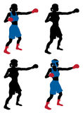 Female boxer boxing Stock Images