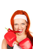 Female boxer with chili pepper. Portrait of pretty female boxer biting hot chili pepper Stock Photography