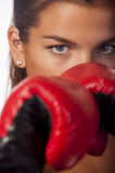 Female boxer closeup. Female boxer in stand, focus on the eyes Stock Image