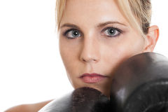Female boxer closeup portrait Royalty Free Stock Photos
