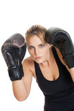 Female boxer in defensive position Stock Image