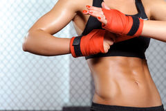 Female boxer does bandage Stock Image