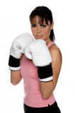 Female Boxer in Fight Stance Stock Photo