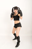 Female boxer, fitness woman boxing wearing boxing Royalty Free Stock Photos