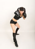 Female boxer, fitness woman boxing wearing boxing Royalty Free Stock Photography