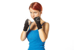 Female boxer in gloves Royalty Free Stock Photo