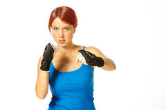 Female boxer in gloves Stock Images