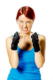 Female boxer in gloves Stock Photos