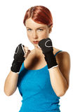 Female boxer in gloves Royalty Free Stock Images