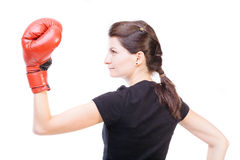 Female boxer with gloves Stock Images