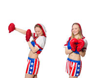 The female boxer isolated on the white background Royalty Free Stock Photos