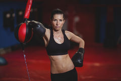 Female boxer leaning on speed boxing ball Royalty Free Stock Images