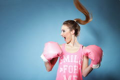Free Female Boxer Model With Big Fun Pink Gloves Stock Photography - 29821012