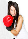 Female boxer near wall Stock Photography
