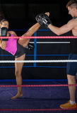 Female boxer practicing an air kick Stock Photography