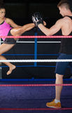 Female boxer practicing an air kick Royalty Free Stock Photos