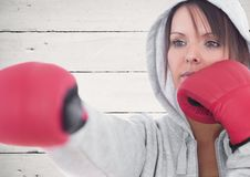 Female boxer practicing boxing Stock Photo