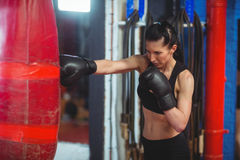 Female boxer practicing boxing with punching bag Stock Photography