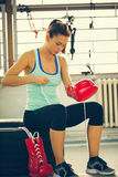Female Boxer Preparing For Training Royalty Free Stock Photo