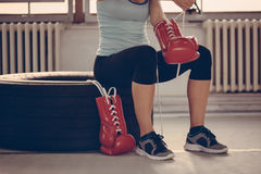 Female Boxer Preparing For Training Royalty Free Stock Image