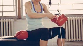 Female Boxer Preparing For Training Stock Photography