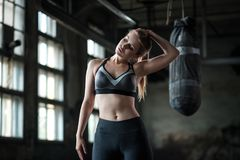Female Boxer preparing for training in Boxing Club Stock Images