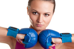 Female Boxer Ready to Fight Royalty Free Stock Photo
