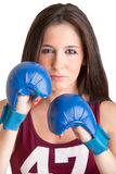 Female Boxer Ready to Fight Stock Photography