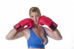 Female boxer in a sports bra Stock Photo