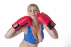 Female boxer in a sports bra Royalty Free Stock Images