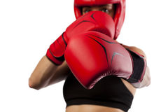 Female boxer, super woman concept Stock Images