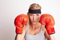Female boxer at training royalty free stock photo