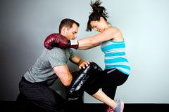 Female boxer in training Royalty Free Stock Photo