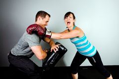 Female boxer in training Royalty Free Stock Image