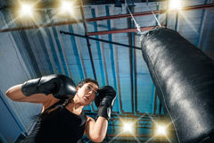 The female boxer training at gym Stock Images