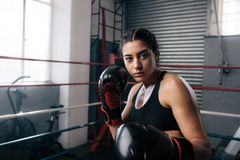 Female boxer training inside a boxing ring. Close up of a female boxer doing shadow boxing inside a boxing ring. Boxer practicing her punches at a boxing studio Stock Photos
