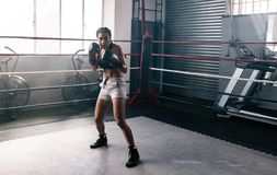 Female boxer training inside a boxing ring. Female boxer doing shadow boxing inside a boxing ring. Boxer practicing her moves at a boxing studio Royalty Free Stock Image