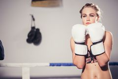 Female Boxer wearing gloves posing in boxing studio. Close up of woman boxer wearing gloves standing in boxing studio Royalty Free Stock Photography