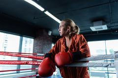 Female boxer wearing red baggy sport jacket. Sport jacket. Blonde-haired professional female boxer wearing red baggy sport jacket training very hard Royalty Free Stock Photo