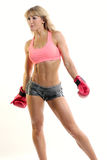 Female boxer white background Royalty Free Stock Images