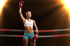 Female boxer winner Royalty Free Stock Photo
