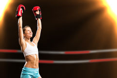 Female boxer winner Royalty Free Stock Photography